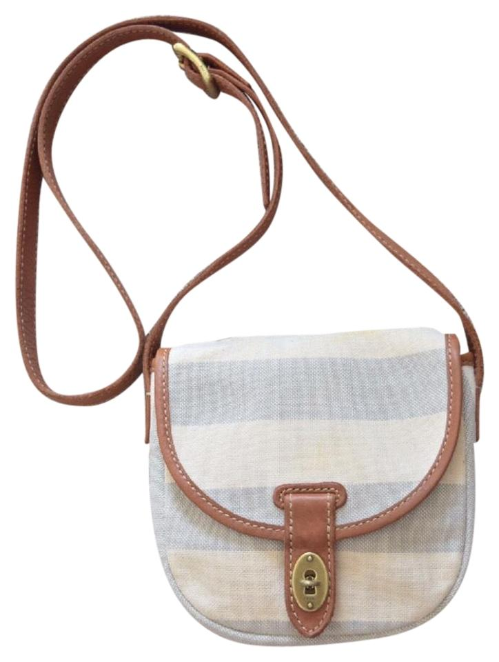 021ae0aef3b4 Fossil Cream and Brown Canvas   Leather Cross Body Bag - Tradesy
