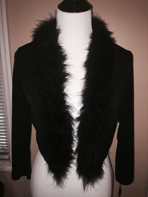 Calvin Klein Shawl Cover Up Shrug Feathers Crop Jacket Dress
