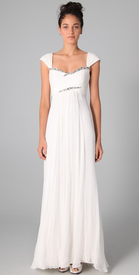 Marchesa Notte White Chiffon/Silk Empire Gown with Rhinestones ...