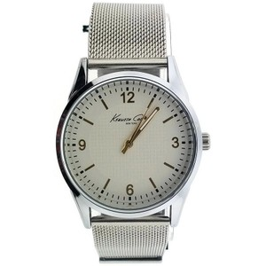 Kenneth Cole 10024822 Men's Silver Mesh Band With White Analog Dial Watch
