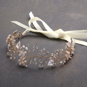 Mariell Designer Bridal Headband With Hand Painted Gold And Silver Leaves