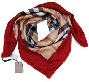 Burberry Burberry Prorsum Classic Check Beige Red Border Silk Scarf Large