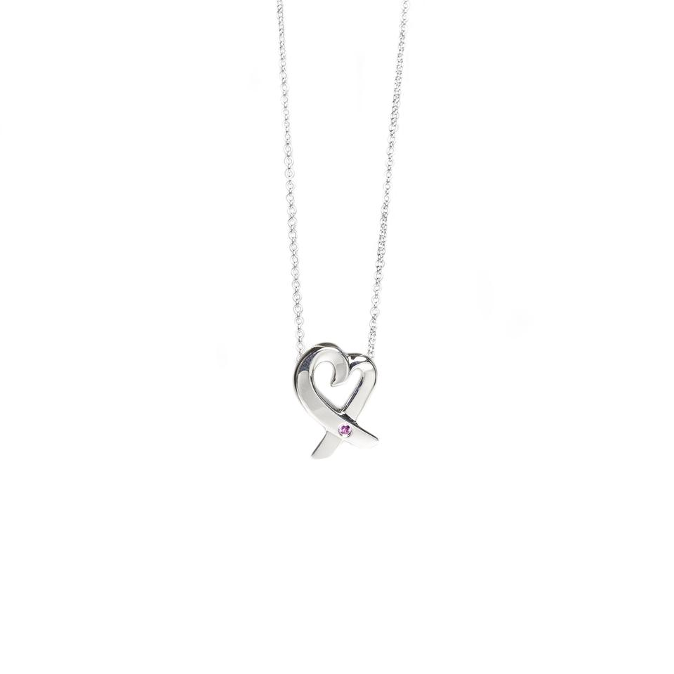 Tiffany co silver paloma picasso loving heart pink sapphire nwot paloma picasso loving heart pink sapphire necklace 285 nwot aloadofball Gallery