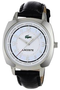 Lacoste 2000597 Men's Black Leather Band With White Analog Dial Watch