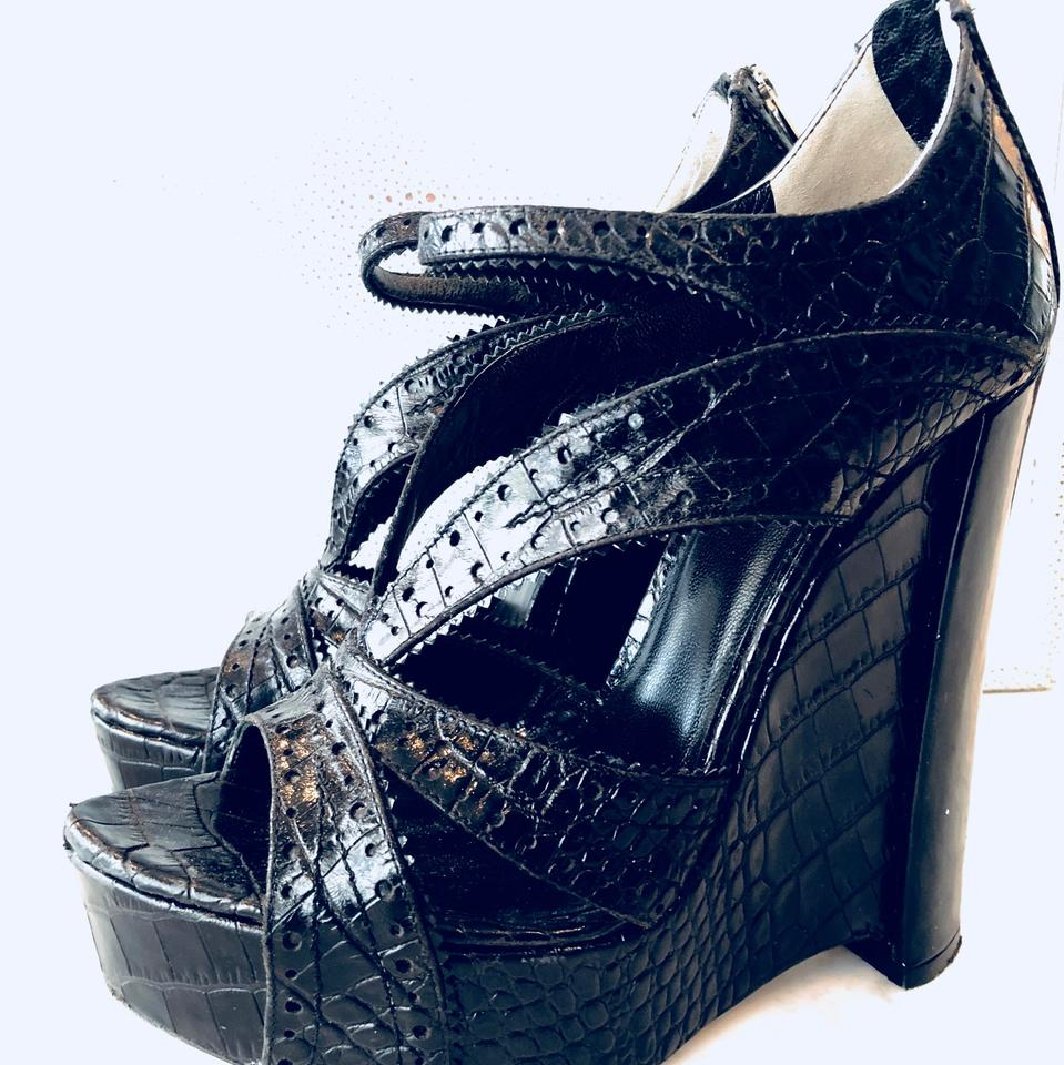 ef95f088c46f Dior Black Christian Croc Embossed Bonnie  Wedges Sandals Size EU 39 ...