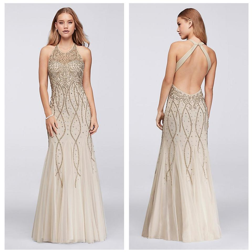 Xscape Nude High Neck Beaded Mesh Gown with Open Back Long Formal ...