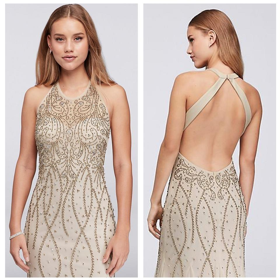2707013c Xscape Nude High Neck Beaded Mesh Gown with Open Back Long Formal ...