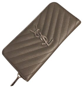 Saint Laurent SAINT LAURENT Quilted textured-leather wallet New with tag, Grey