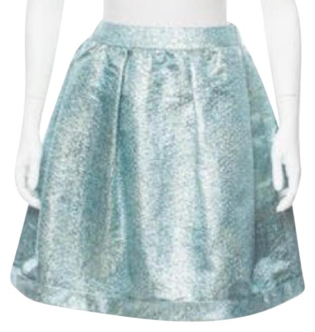 Item - Blue Jacquard Metallic Embroidered Pleated Skirt Size 2 (XS, 26)