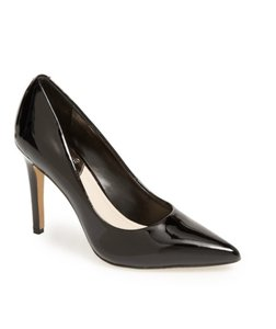 Vince Camuto Leather Pointed Toe Leather Suede Black Patent Pumps
