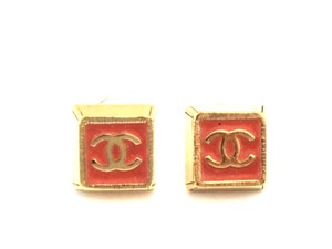 Chanel CC square enamel gold pierced stud Earrings