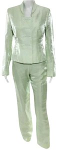 Richard Tyler Pastel green linen straight leg pants suit designed by Richard Tyler 6