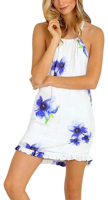 Item - White/Blue/Purple/Green/Lavender Wedding Guest Silky Floral Printed Ruffled Swingy Short Casual Dress Size 8 (M)