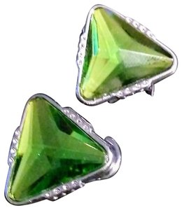 Unknown Lime Green and Silver Triangle Shaped Earrings