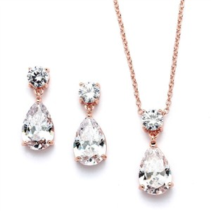 Rose Gold Crystal Teardrops Necklace Earrings Jewelry Set
