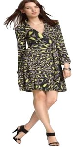 Grey, Black, Neon Green Maxi Dress by Diane von Furstenberg Dvf Wrap Silk Jersey Jeanne