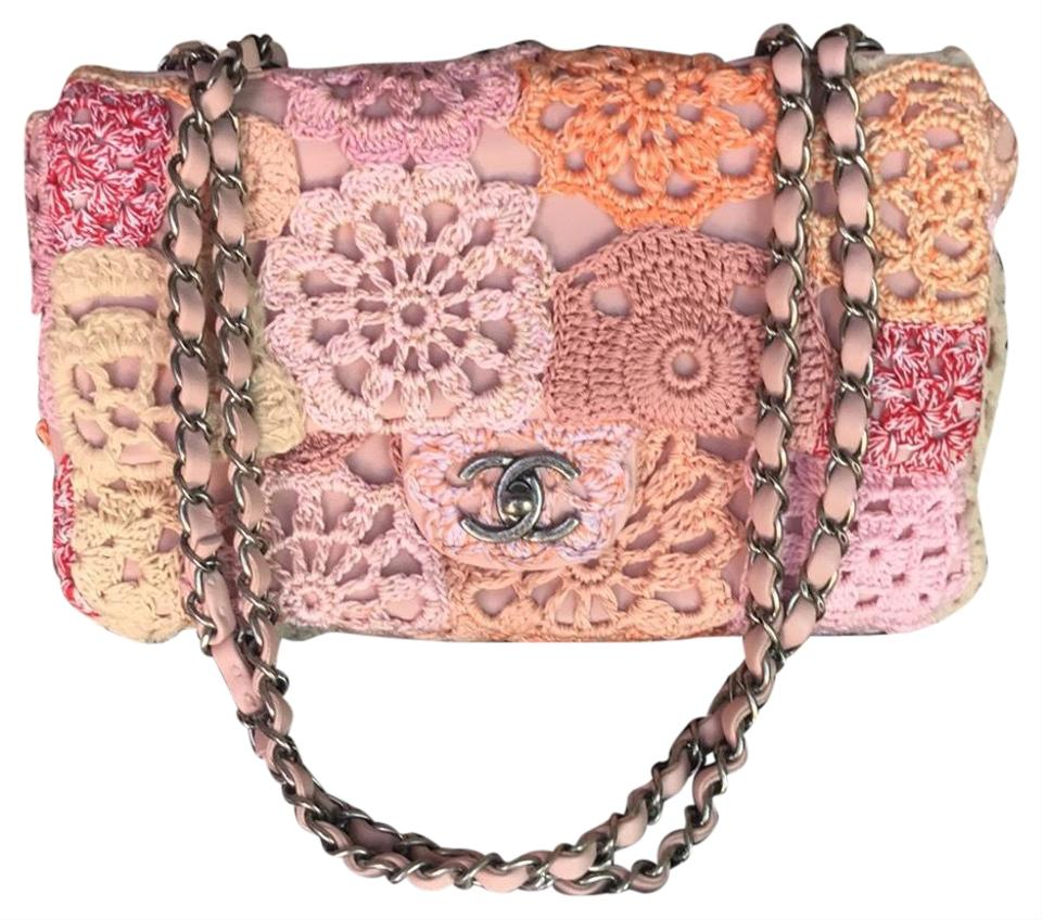 Chanel classic flap flower crochet pink leather and fabric shoulder chanel shoulder bag mightylinksfo