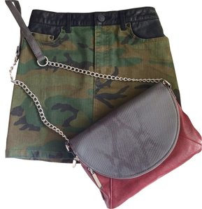Urban Outfitters Camo Print Leather Detail Mini Skirt