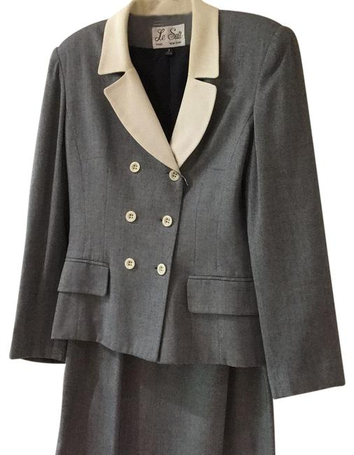 Item - Navy Blue with White Collar Skirt Suit Size 4 (S)