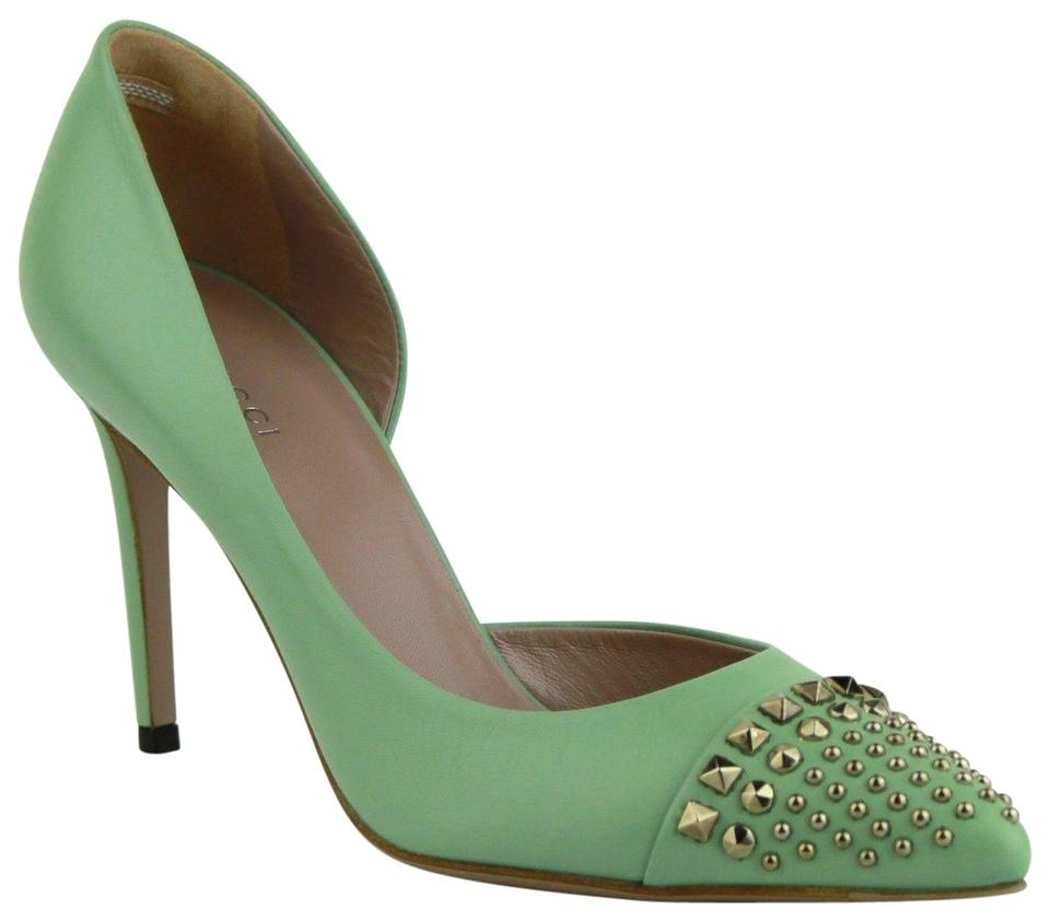ddfc2d437e2d Gucci Sea Green Leather Heel with Silver Studs 38 Us 8 370491 3908 ...