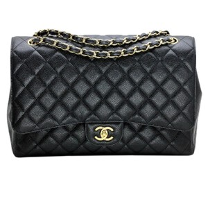 af0500303df5 Chanel Classic Flap Maxi Classic Quilted In Caviar with Gold Black Leather  Shoulder Bag - Tradesy