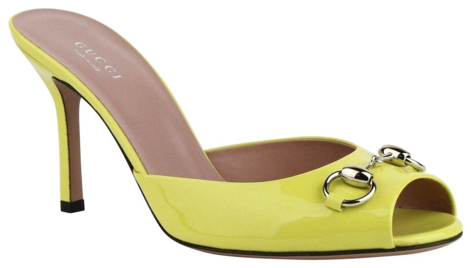 a671950182f Gucci Neon Yellow Horsebit Patent Leather Open Toe Heel W Horsebit 37.5 Us  7.5 370804 7209 Mules Slides