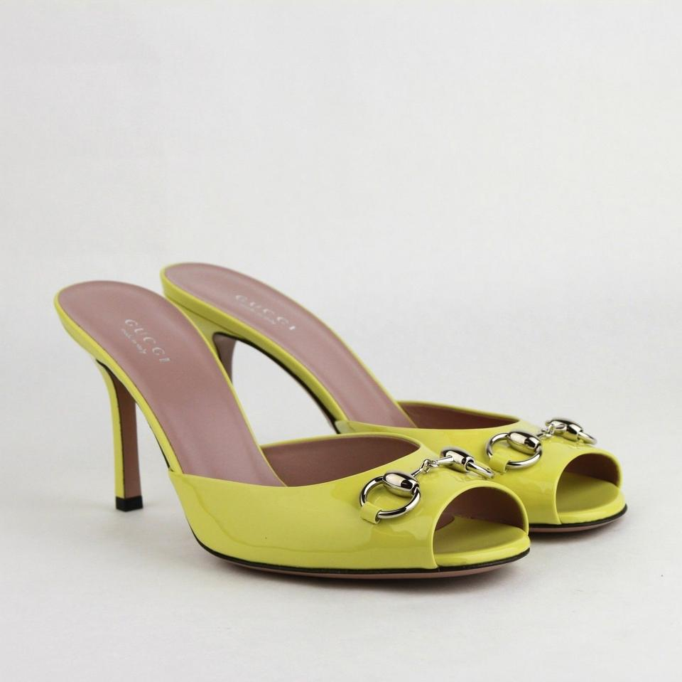 ac8fd980ac7 Gucci Neon Yellow Horsebit Patent Leather Open Toe Heel W Horsebit ...