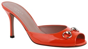 Gucci Patent Leather Open Toe Heel Orange Mules