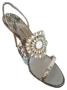 Manolo Blahnik Snakeskin Bb Manolos Hansai Manolo White and Black Sandals