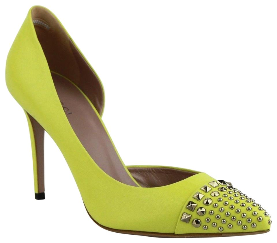 2bb3c26cdcc Gucci Neon Yellow Leather Heel with Silver Studs 38.5 Us 8.5 370491 7209  Pumps