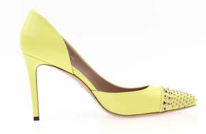 Gucci Leather Heel Silver Studs Neon Yellow Pumps