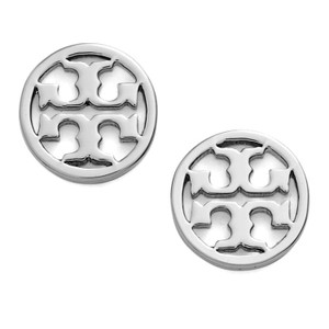 Tory Burch New Tory Burch Small Circle Logo Studs Silver