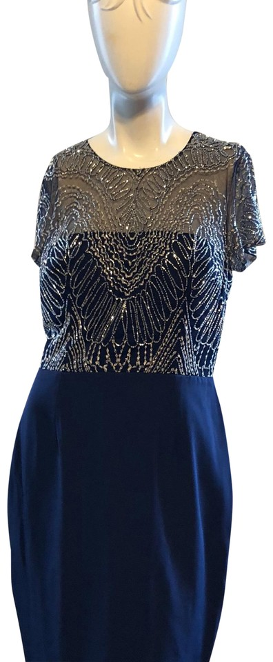 David Meister Navy/Silver Beaded Short-sleeve Sheath Color with Tag ...