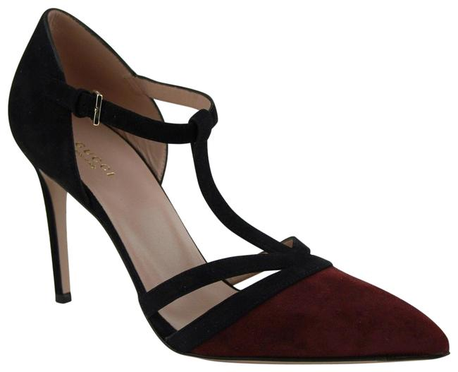 Gucci Black/Burgundy And Suede Leather T Strap Heel 39.5/Us 9.5 353789 6171 Pumps Size EU 39.5 (Approx. US 9.5) Regular (M, B) Gucci Black/Burgundy And Suede Leather T Strap Heel 39.5/Us 9.5 353789 6171 Pumps Size EU 39.5 (Approx. US 9.5) Regular (M, B) Image 1