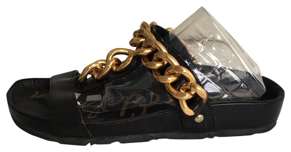 bc3d2a4294df Sam Edelman Black Leather Flats with Heavy Gold-tone Metal Chains Sandals