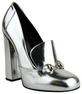 Gucci Leather Heel Horsebit Silver Metallic Mules