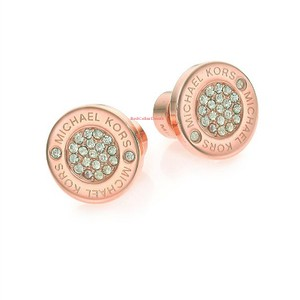 Michael Kors New Michael Kors Round Rose Gold Pave Stud Earrings with Dust Cover