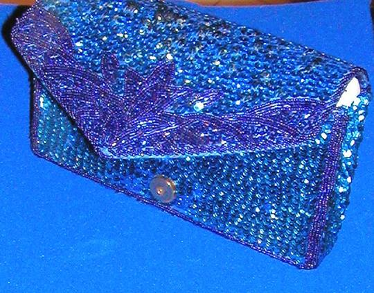 PurseN Evening After Five Party Formal Special Occasion Blue Clutch Image 6