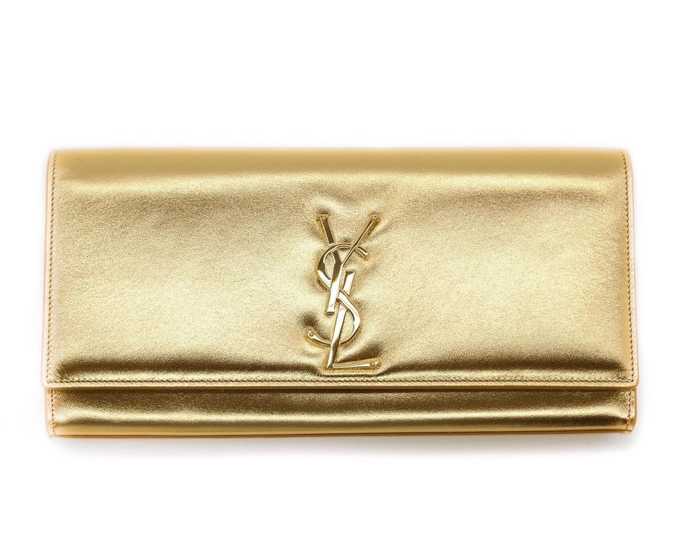 cfa17df85295 Saint Laurent Cassandre Monogram Ysl Gold Leather Clutch - Tradesy
