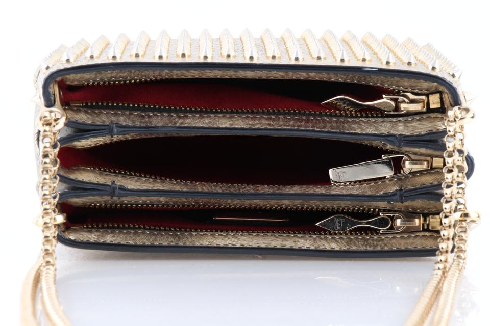 91b858860a1 Christian Louboutin Triloubi Small Triple-gusset Spiked Gold Leather  Shoulder Bag 28% off retail