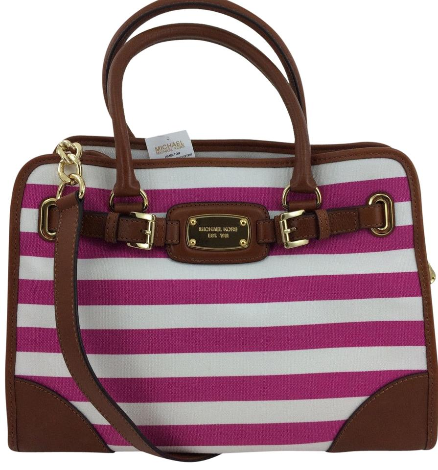 538accfde2e2 Michael Kors Convertible Shoulder East West Hot Pink Tote in Fuchsia and  White Striped ...