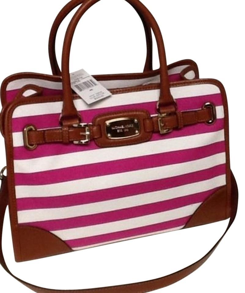 1da1ab55d924 Michael Kors Convertible Shoulder East West Hot Pink Tote in Fuchsia and  White Striped. 12345678910
