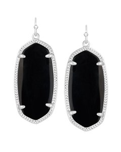 Kendra Scott NEW Kendra Scott Elle Silver Statement Drop Earrings Opaque Black