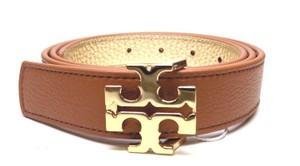 "Tory Burch TORY BURCH 1"" BARK BROWN GOLD LEATHER REVERSIBLE LOGO BELT- S"