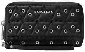 Michael Kors Rare Clutch Wallet Id Case Wristlet in Black and Silver