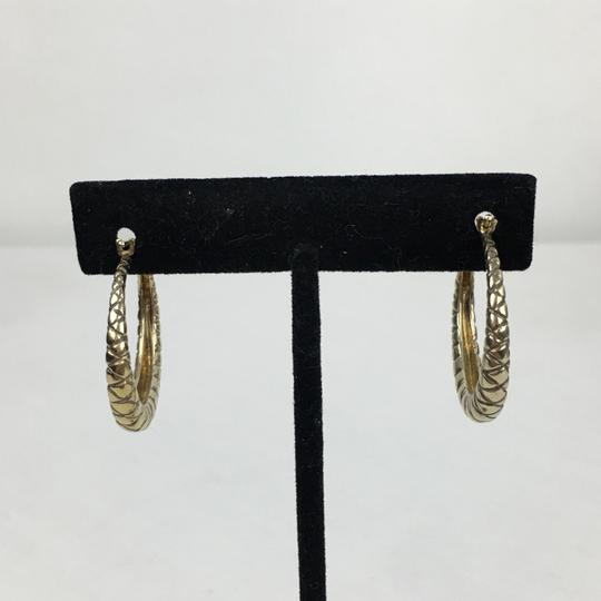 Bottega Veneta BOTTEGA VENETA Oxidized Gold Woven Hoop Earrings Image 3