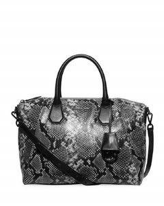 Michael Kors Shoulder Snake Snakeskin Tote Cross Body Satchel in Steel Grey and Black