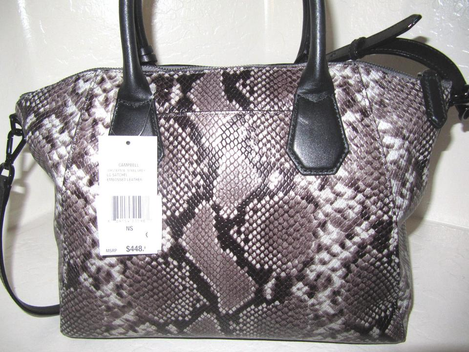 d9d6245d0168 Michael Kors Shoulder Snake Snakeskin Tote Cross Body Satchel in Steel Grey  and Black Image 9. 12345678910