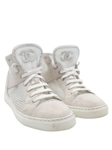 Chanel Mesh Suede High Tops Sneakers Lace Up IVORY Athletic