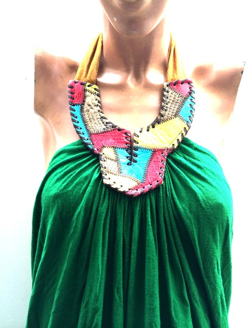 T-Bags California Usa Talkingfashion Leather Sexy Green With Camel And Red Yellow Blue Halter Top